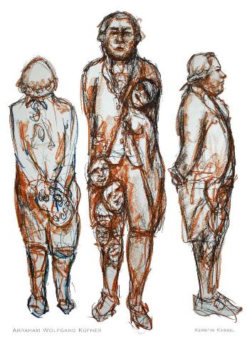 Rötel, Kohle-Zeichnung auf Papier 100*70 cm